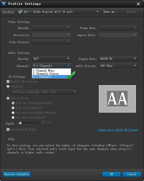 encode 5.1 AC3 files to 5.1 WAV files